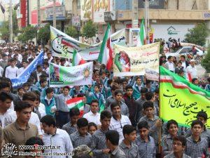 گزارش تصویری /راهپیمایی سیزدهم آبانماه با حضور دانش آموزان و مردم شهرستان جم انجام شد